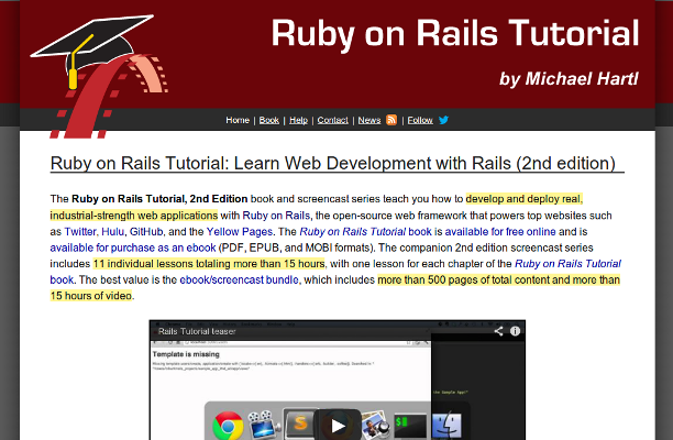Learning Ruby on Rails in 2016 from the best resources
