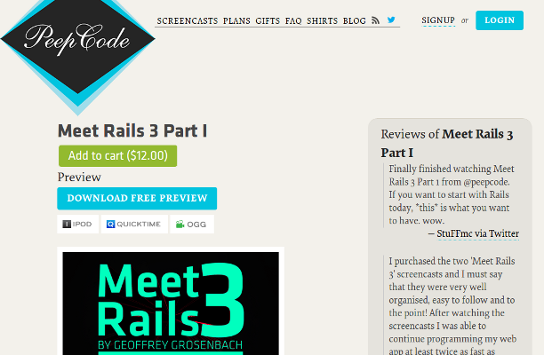 Rails 3 Tutorial Part I and II (by PeepCode.com)